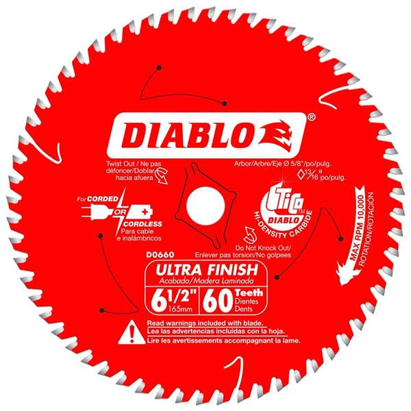 "Diablo Ultra Finish Circular Saw Blade - 6 1/2"", 60T"