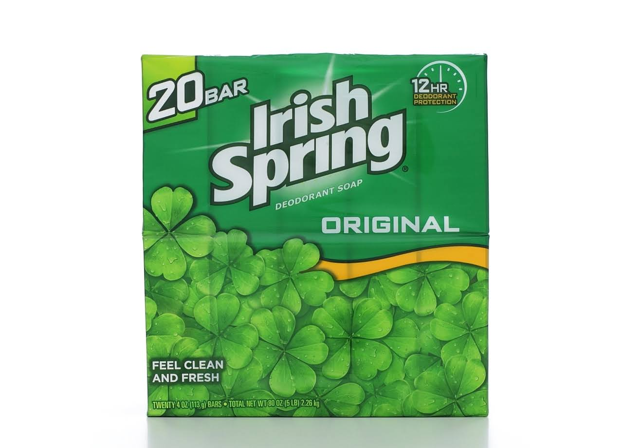 Irish Spring Deodorant Bar Soap - 4oz x 20 Bar, Original