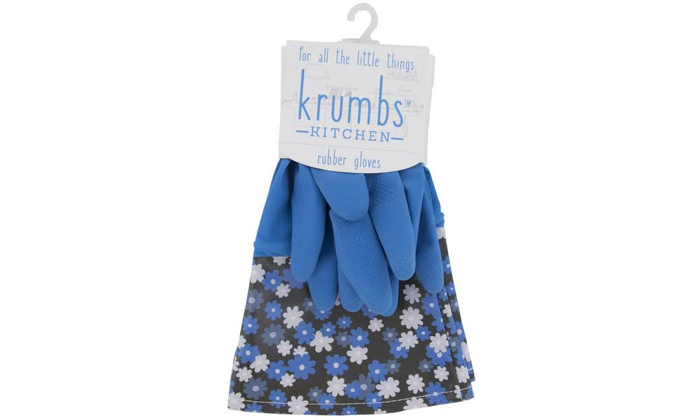 Krumbs Kitchen Cleaning Rubber Gloves (1 Pair) Blue