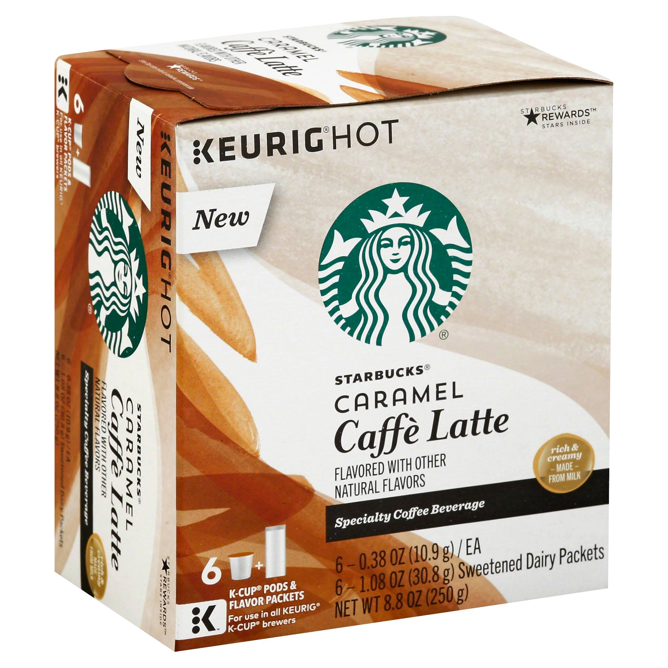Starbucks Specialty Coffee Beverage K-Cups Pods - Caramel Caffe Latte, 8.8oz