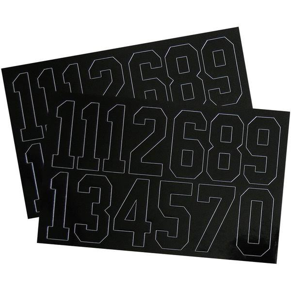 A and R Sports Number Decals - Black, 2""