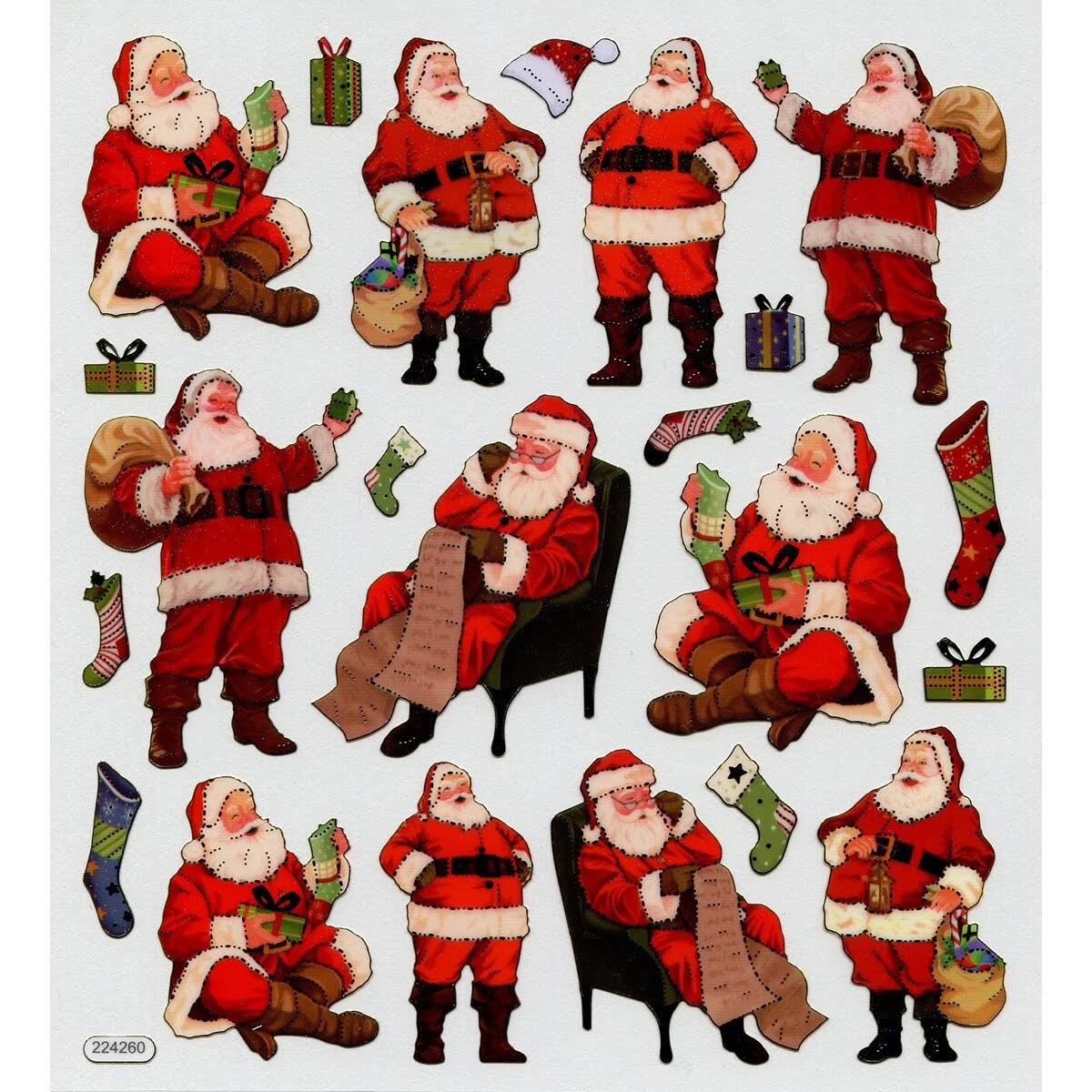 Tattoo King Multicolored Stickers Traditional Santa