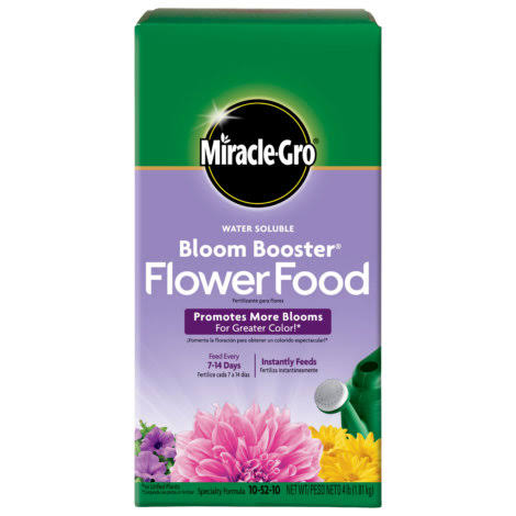 Miracle-Gro 146002 Water Soluble Bloom Booster Flower Food - 10-52-10, 4lb