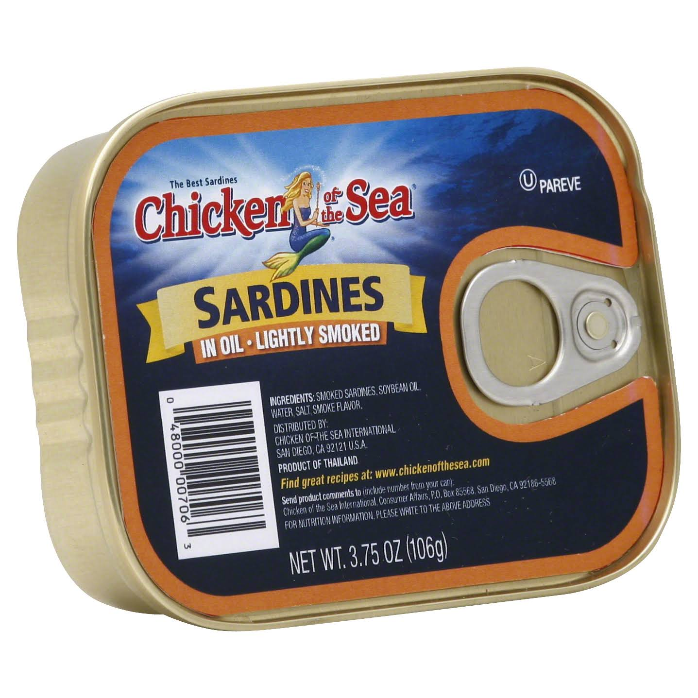 Chicken of the Sea Sardines in Oil - Lightly Smoked, 3.75oz