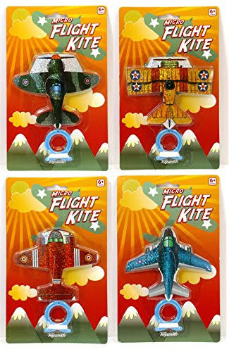 Set of 4 Mini Flight Kites - Fighter Planes Micro Kites, by Toysmith