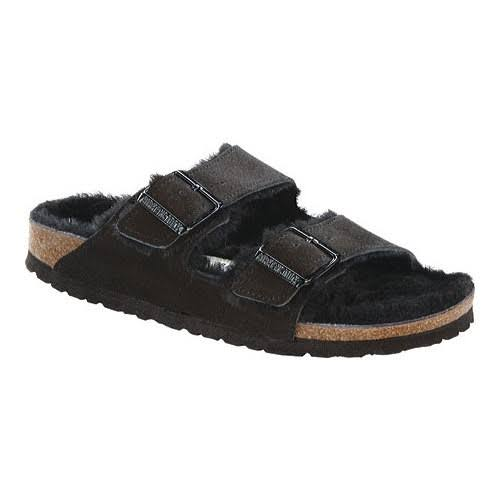 Birkenstock Arizona Shearling Sandals - Narrow Black 40