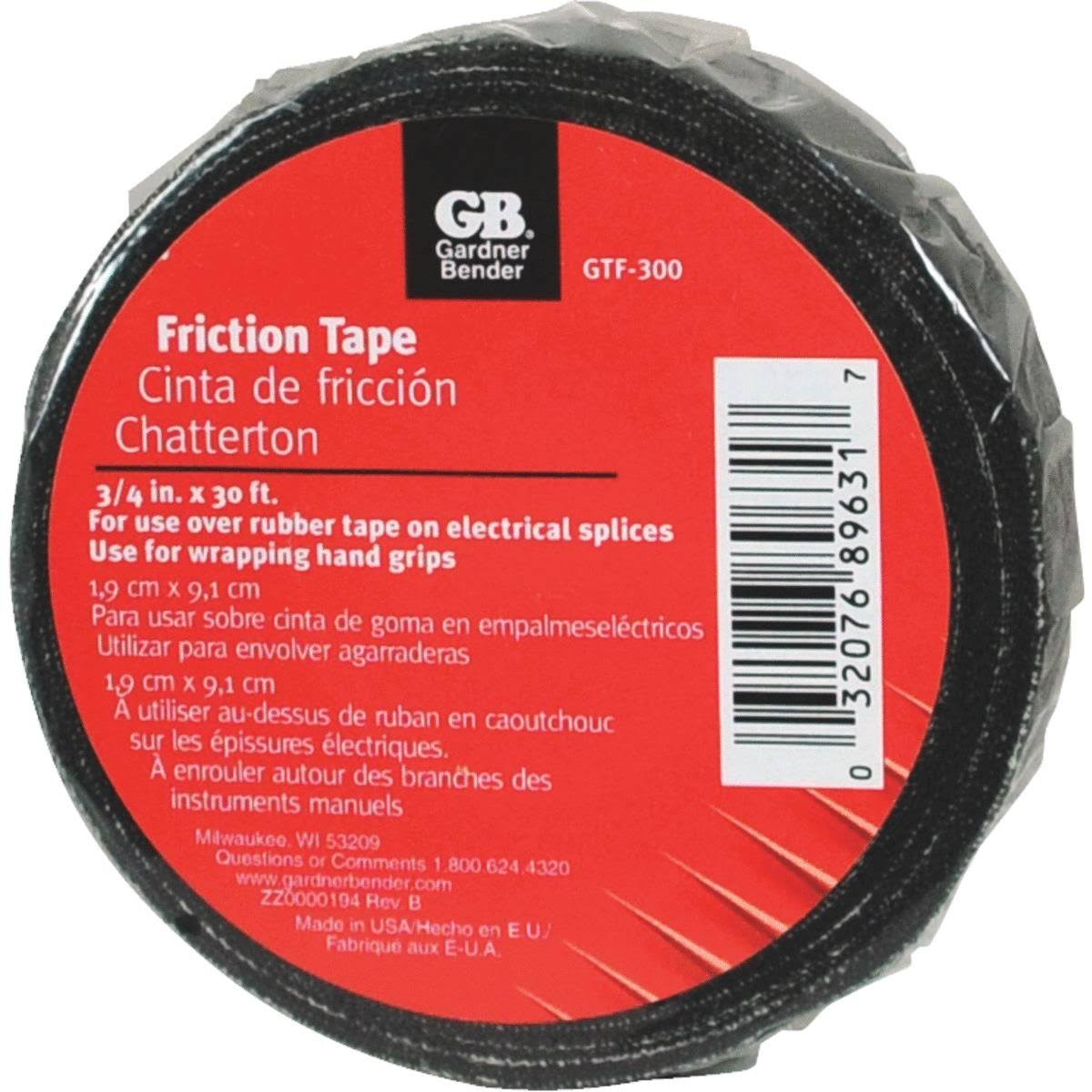 "Gardner Bender Gtf-300 Friction Tape - Black, 3/4"" x 30'"