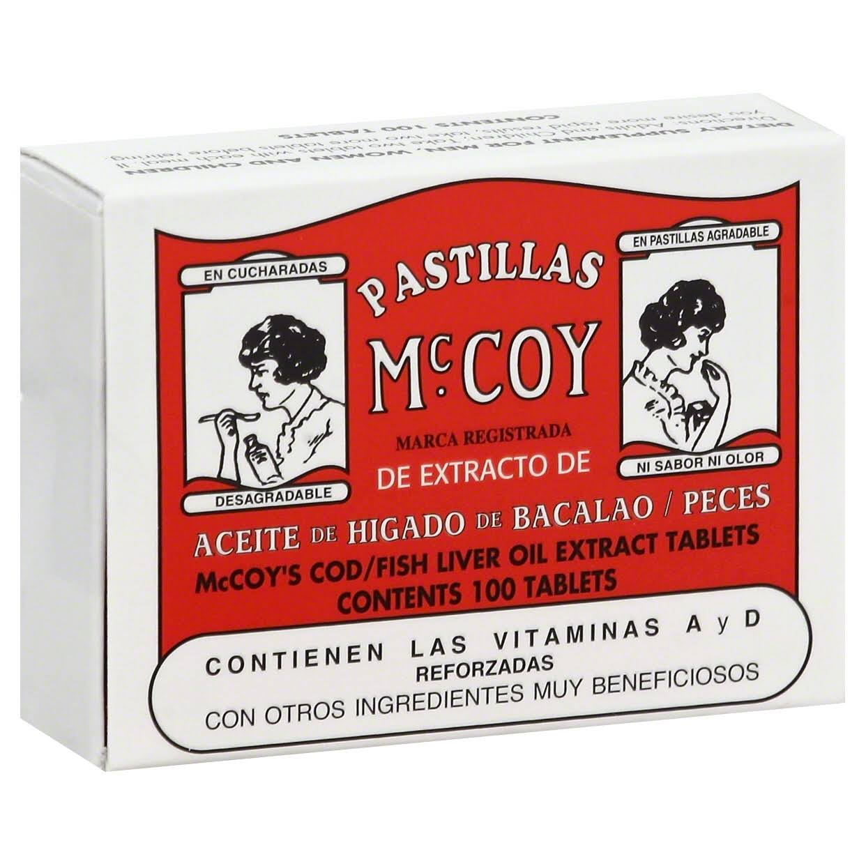 Pastillas McCoy Cod/Fish Liver Oil Extract - 100ct