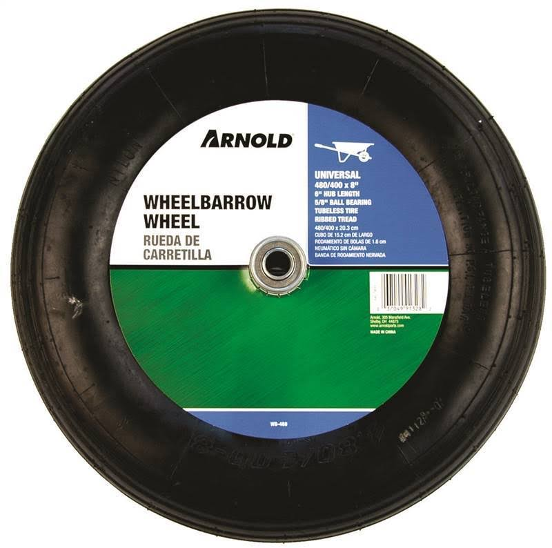 2 Ply Replacement Wheelbarrow Wheel with Ribbed Tread - 8""