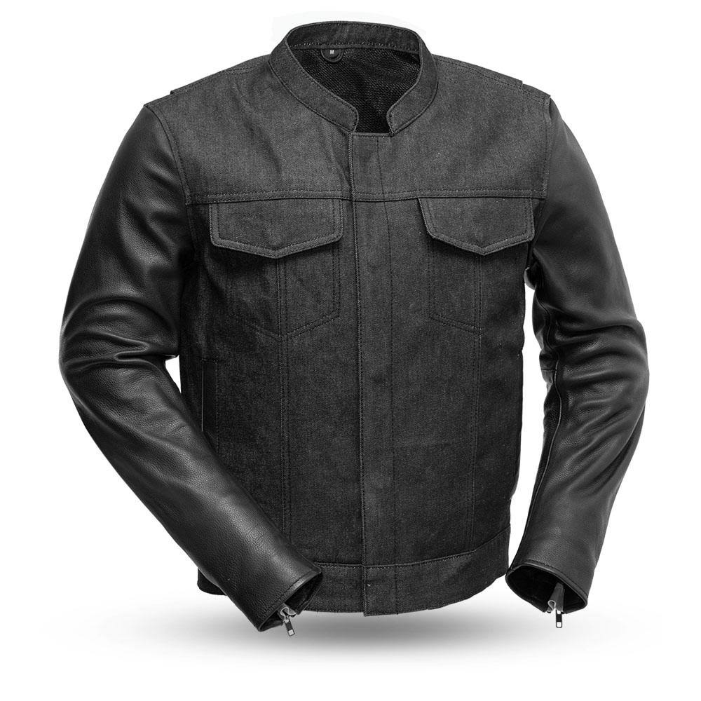 First Manufacturing Cutlass Denim / Leather Motorcycle Jacket 5XL