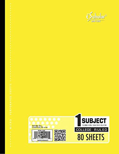 Ischolar Coil Less 1 Subject Notebook 10582, Yellow