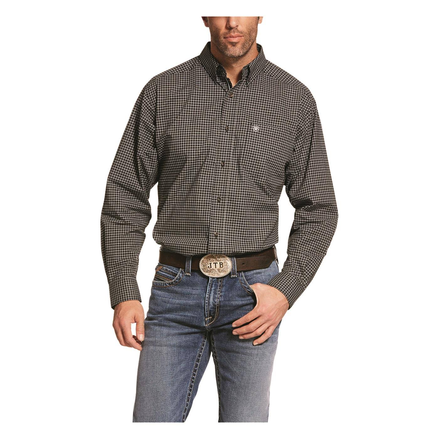 Ariat Men's Pro Series Dain Stretch Classic Fit Long Sleeve Shirt, Size: Large, Black