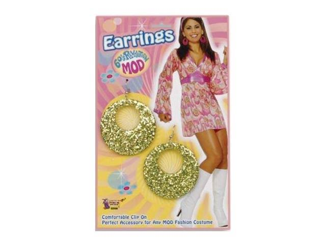 Forum Novelties Gold Mod Glitter Earrings