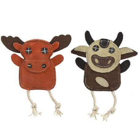 Huggle Hounds 51003795 Leather Wee Moose & Cow Toy - Pack of 2