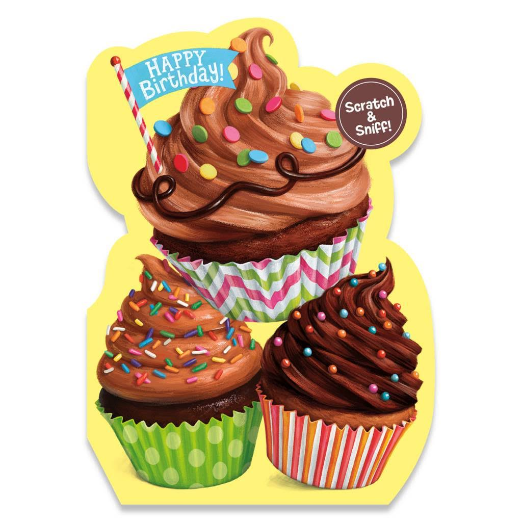 Peaceable Kingdom Birthday Cards - Chocolate Cupcake Scratch & Sniff