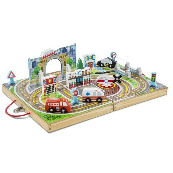 Melissa & Doug Take Along Town Vehicle Toys Set - 18pcs Set