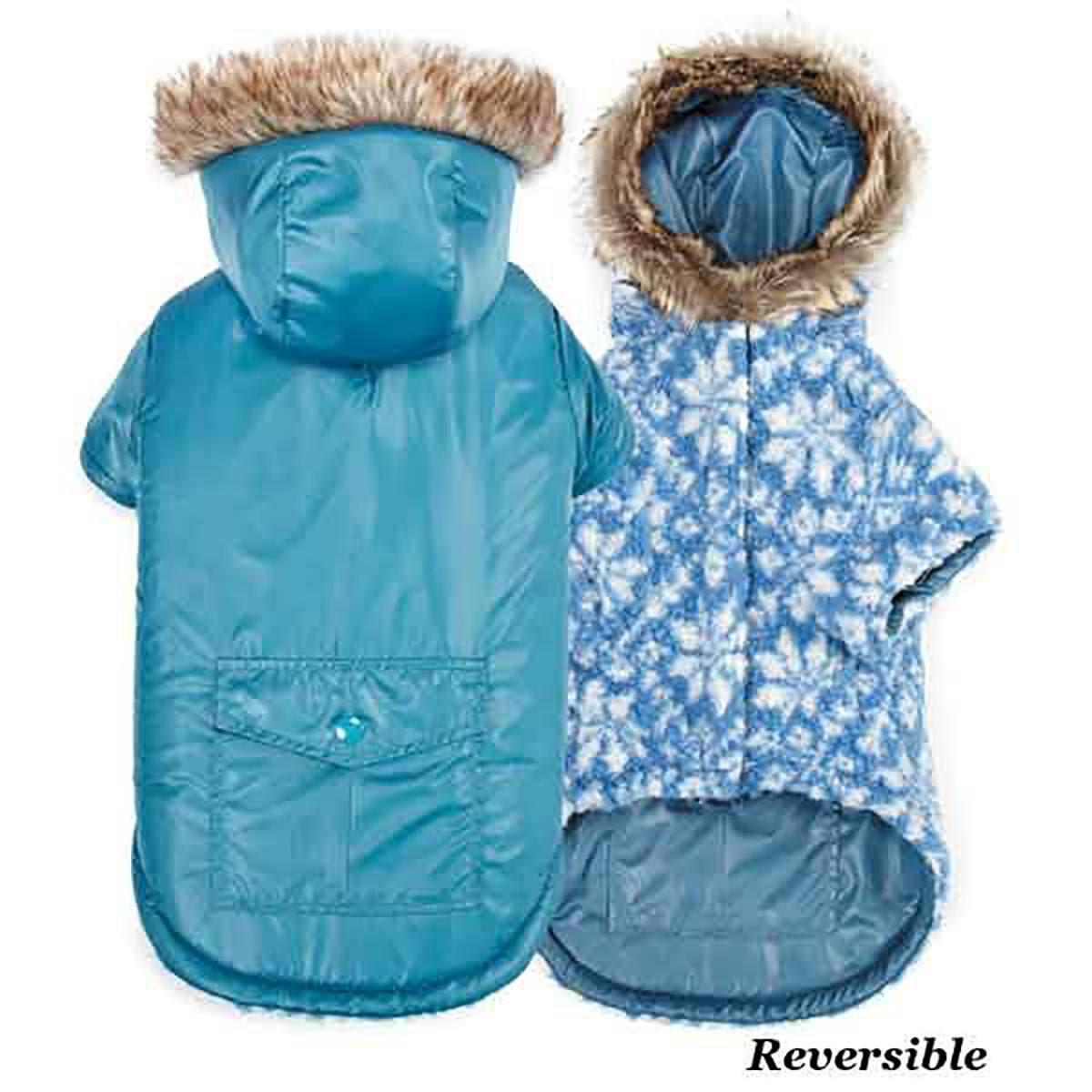 Zack and Zoey Elements Reversible Thermal Parka Hooded Dog Jacket - Blue, Medium
