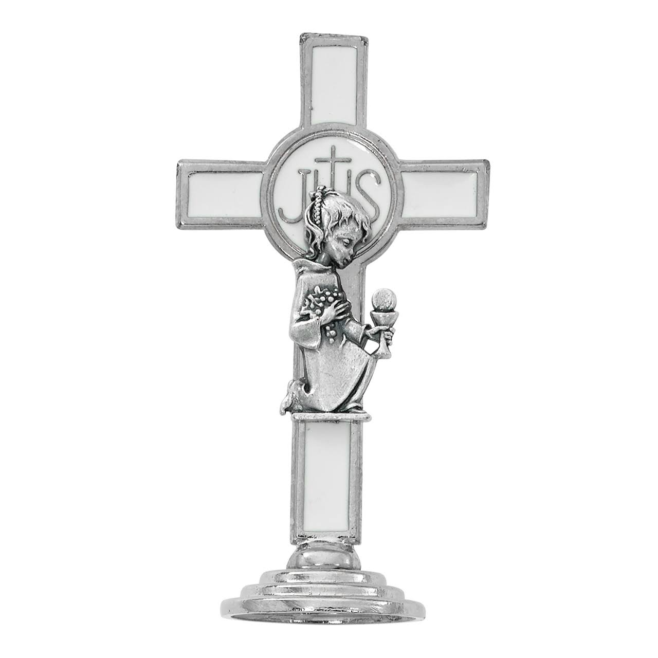 First Communion Cross 3 1/4 inch White Communion Girl