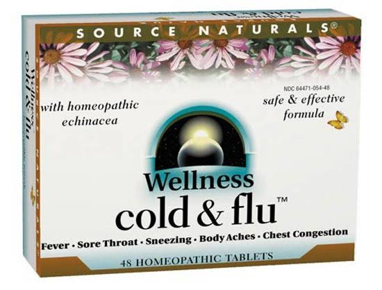 Source Naturals Wellness Cold And Flu Homeopathic Remedy - 48 Homeopathic Tablets