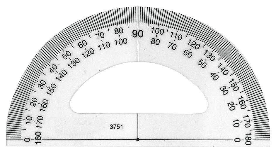 Westcott 3751 Protractor,Plastic,Lined3-1/2in,Trnsprnt