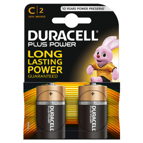 Duracell Plus Power Alkaline C Batteries - 2 Pack