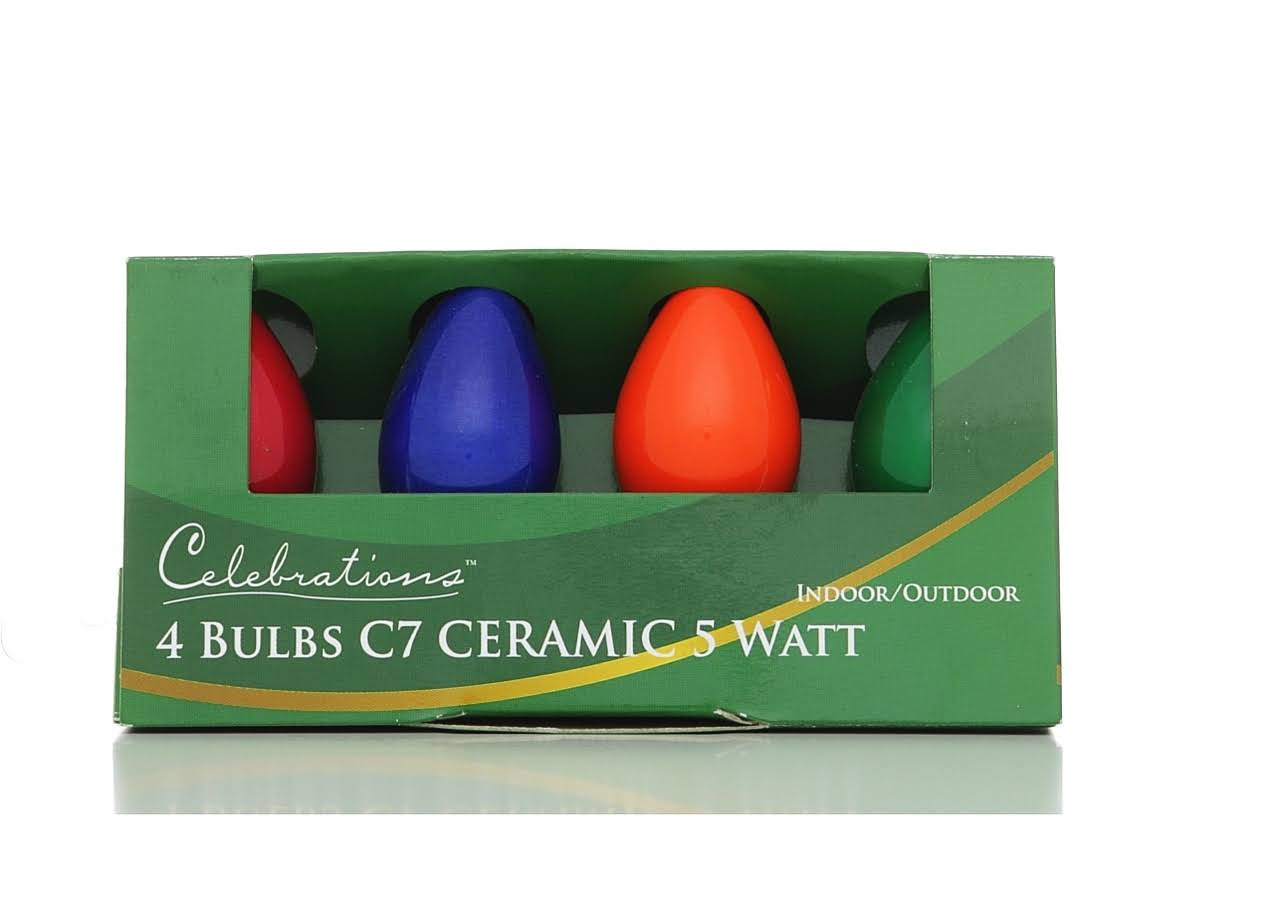 Celebrations Ceramic C7 Replacement Bulbs - Multi Color, 4ct, 5W