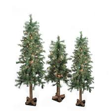 Lifelike Artificial Christmas Trees Canada by Set Of 3 Pre Lit Woodland Alpine Artificial Christmas Trees 4 U0027 5
