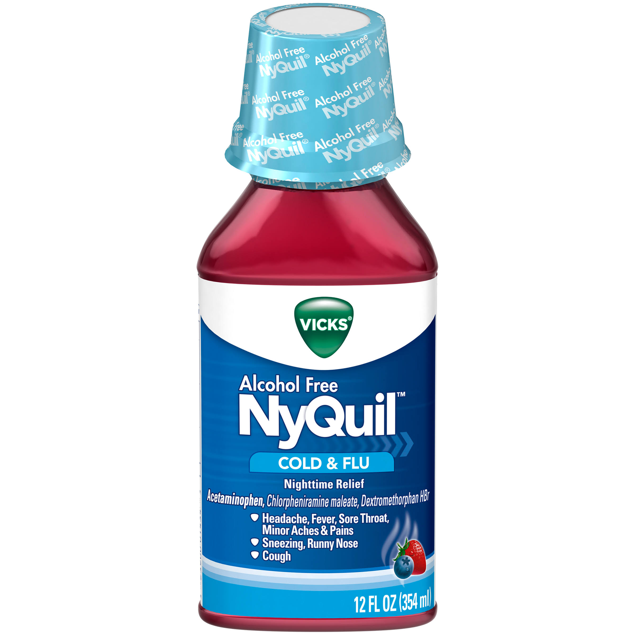 Vicks NyQuil Cold & Flu, Nighttime Relief - 12 fl oz