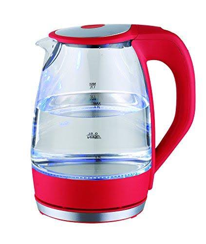 Culinary Edge ET1720 1.7 Liter Electric Cordless Glass Kettle with LED Indicator & 360 Swivel Base, Red
