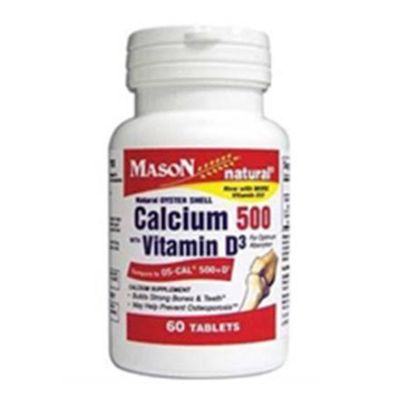 Mason Natural Calcium 500 with Vitamin D3 Tablets