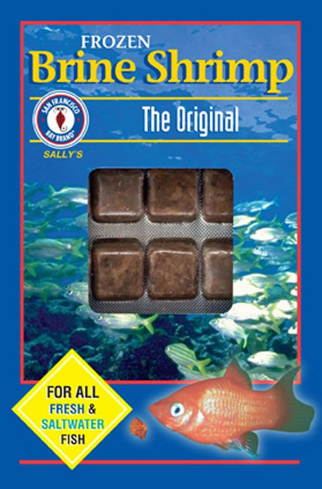 San Francisco Bay Brand Frozen Brine Shrimp Cubes for Freshwater and Saltwater Fish - The Original, 3.5oz