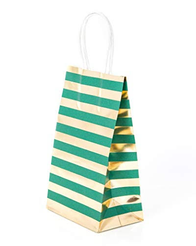 Gift Bags Small Petite Green Set of 14 Kraft Paper with Gold Stripes Hot Stamp for Christmas Holiday, Birthday, Wedding, Anniversary and Graduation