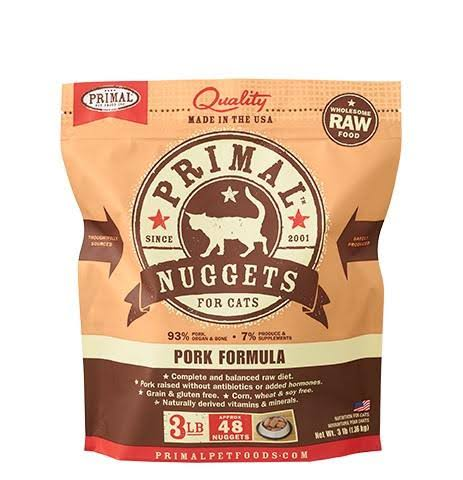 Primal Pork Nuggets Formula Raw Frozen Cat Food - 3 lbs