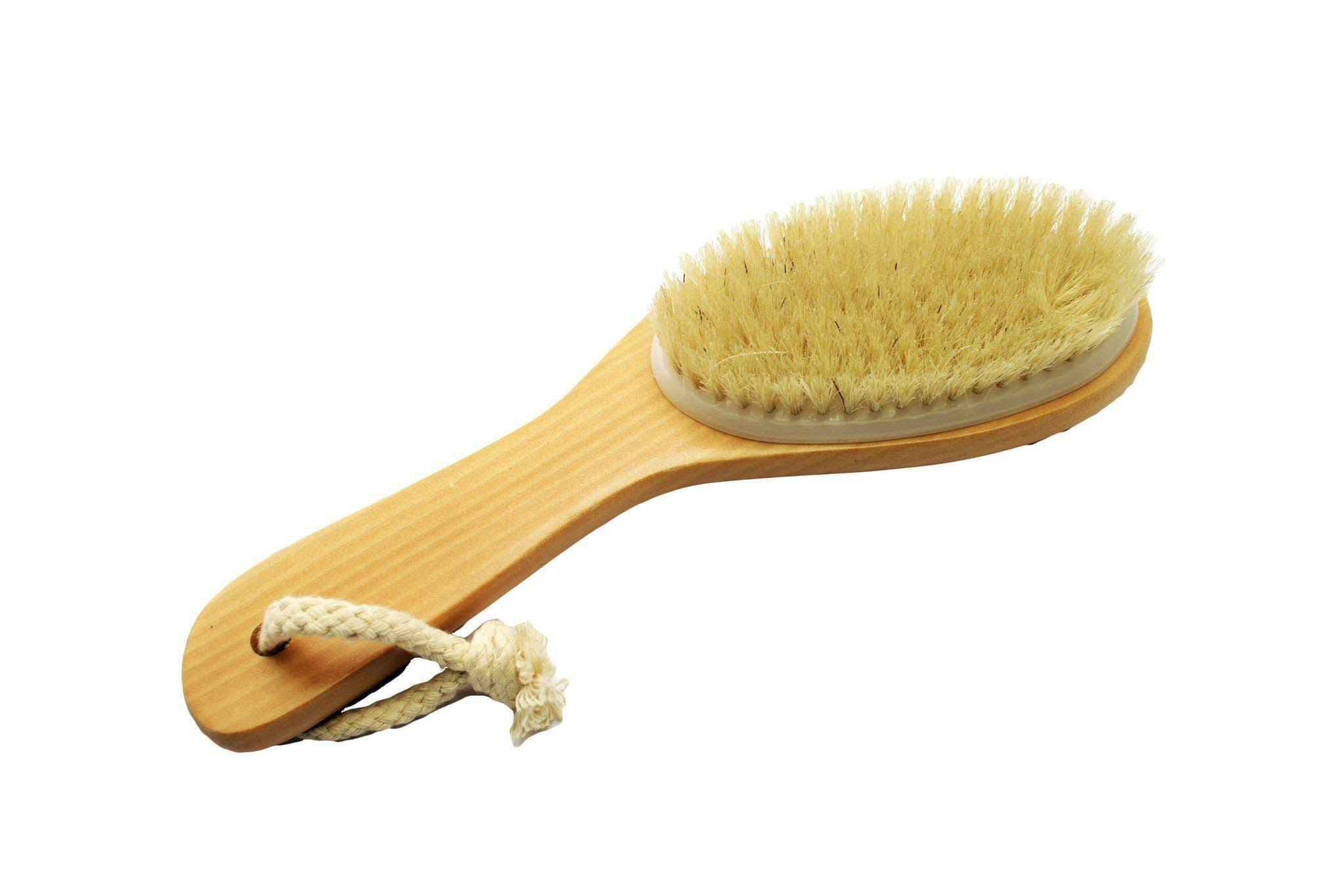 Acqua Sapone Natural Bristle Body Brush with Contoured Wooden Handle