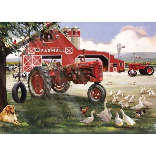 Farmall Sunday on The Farm 1000 Piece Jigsaw Puzzle - Big Red Tractor