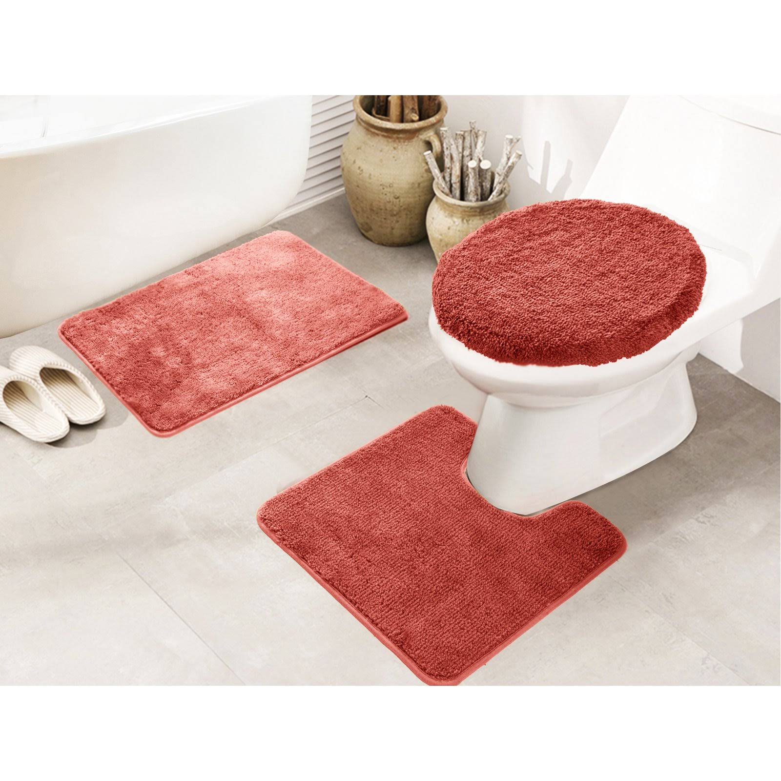 RT Designers Collection Royalty 3 Piece Bath Rug Set Terracotta