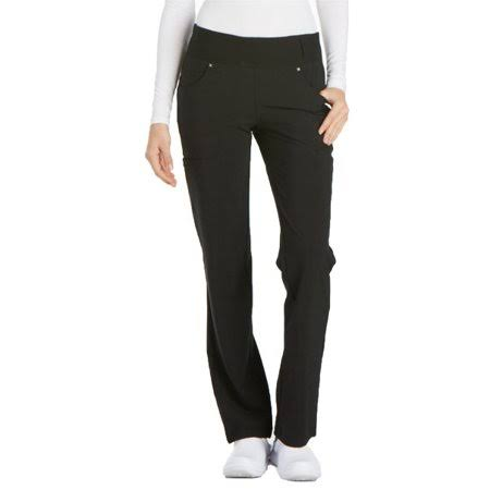 Cherokee Ck002 Mid Rise Straight Leg Pull On Pants - Black, Large