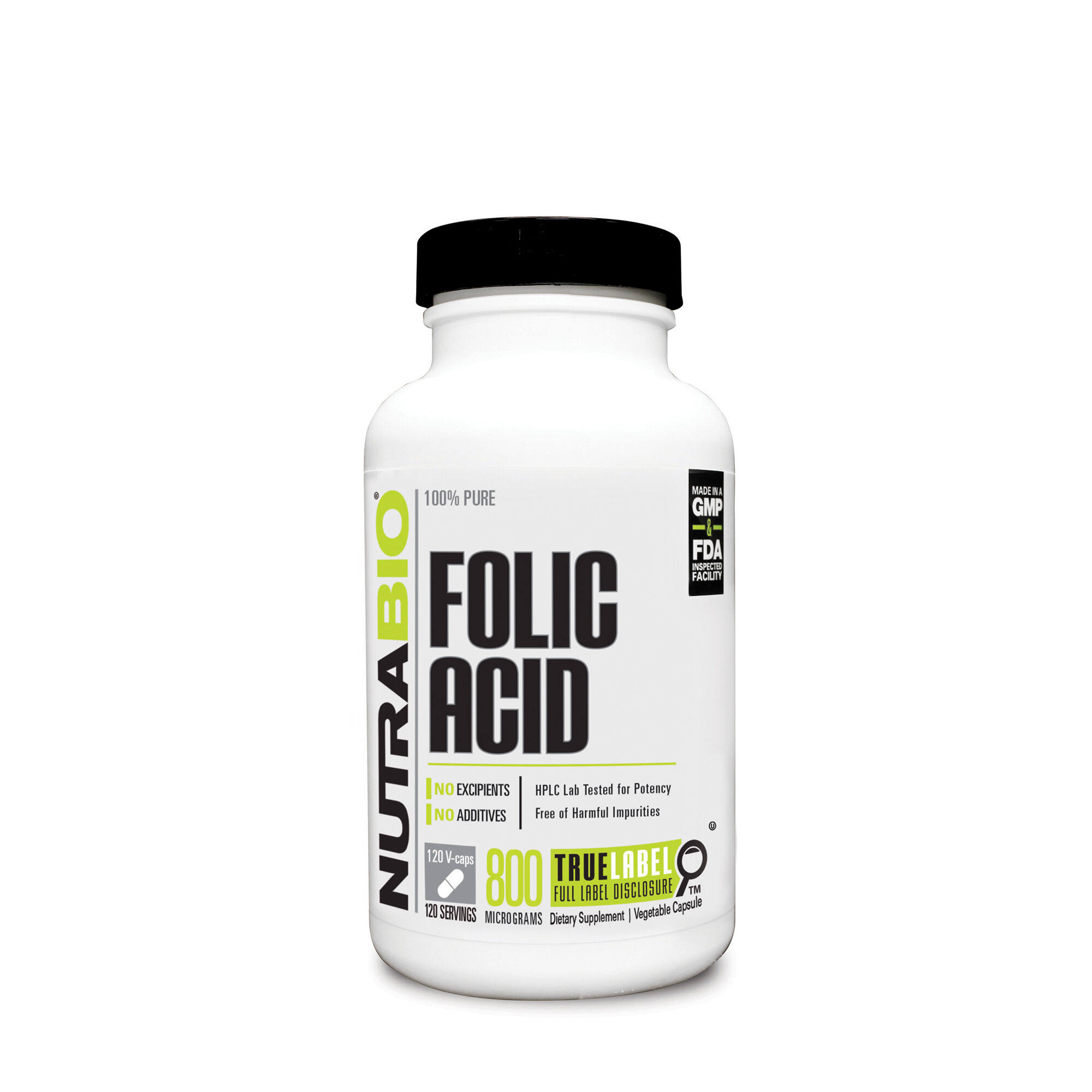 NutraBio Folic Acid 800 mcg - 120 Vegetable Capsules