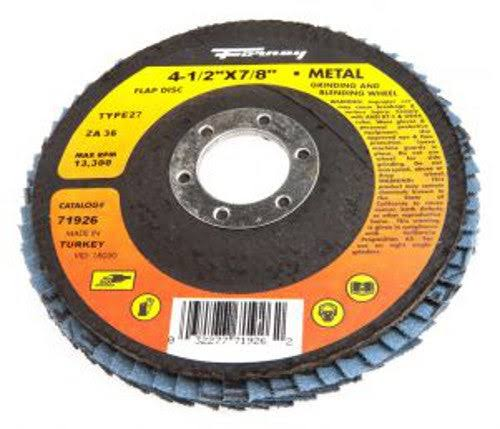 Forney Type 27 Blue Zirconia Flap Disc - 4-1/2in x 7/8in, 36-Grit