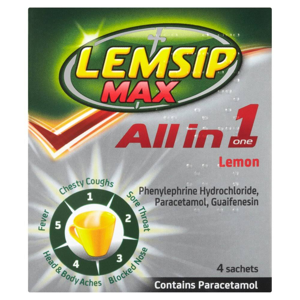 Lemsip Max All in One Cold and Flu Drinks - Lemon, 4ct