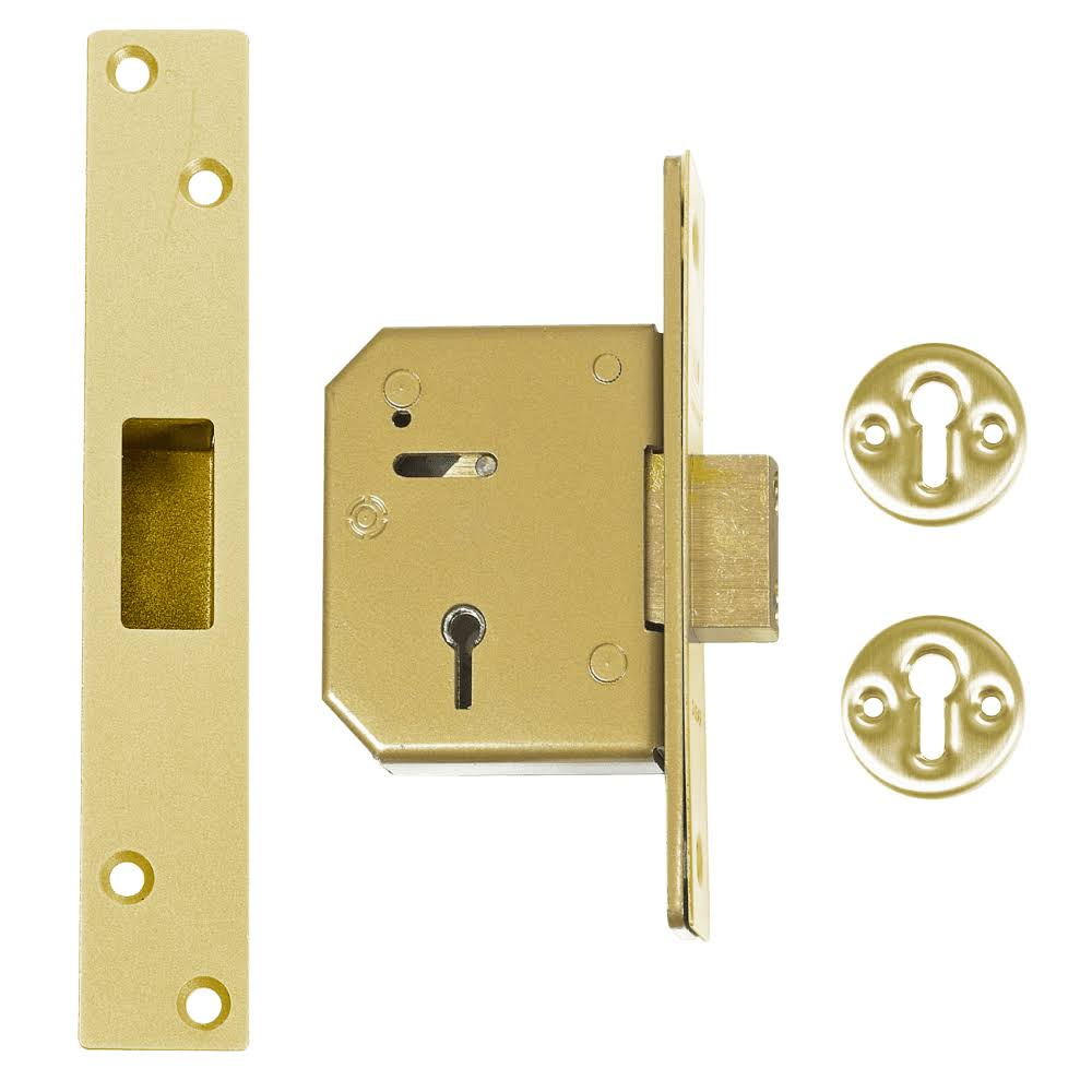 Union 3G115 5 Lever Mortice Deadlock 67mm Polished Brass