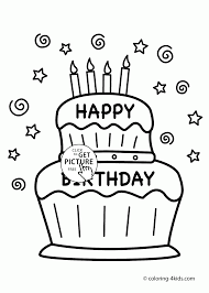 Cake Decorating Books Free by Happy Birthday Cake Card Coloring Page For Kids Holiday Coloring