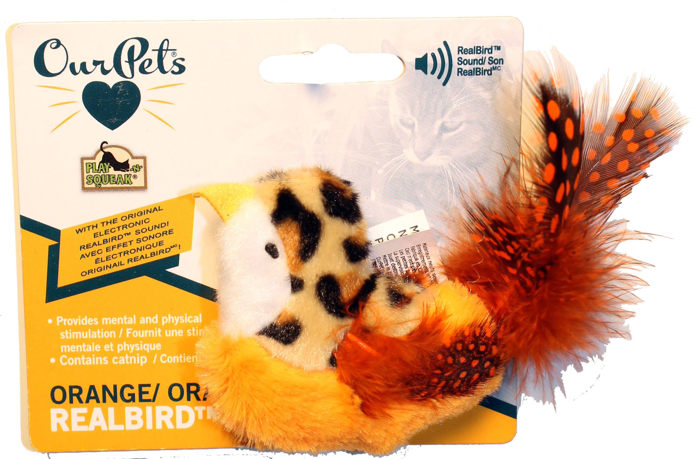 Ourpets Catnip Real Birds CHIRP Squeaky Cat Toy Orange w/ Feather. USA