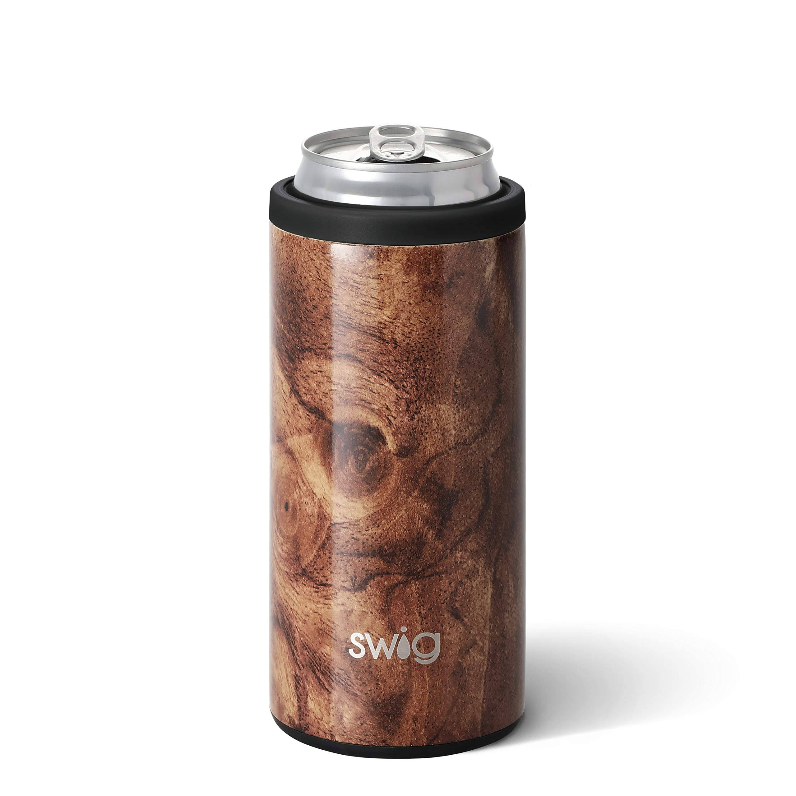Swig Life 12oz Stainless Steel Skinny Can Cooler in Black Walnut