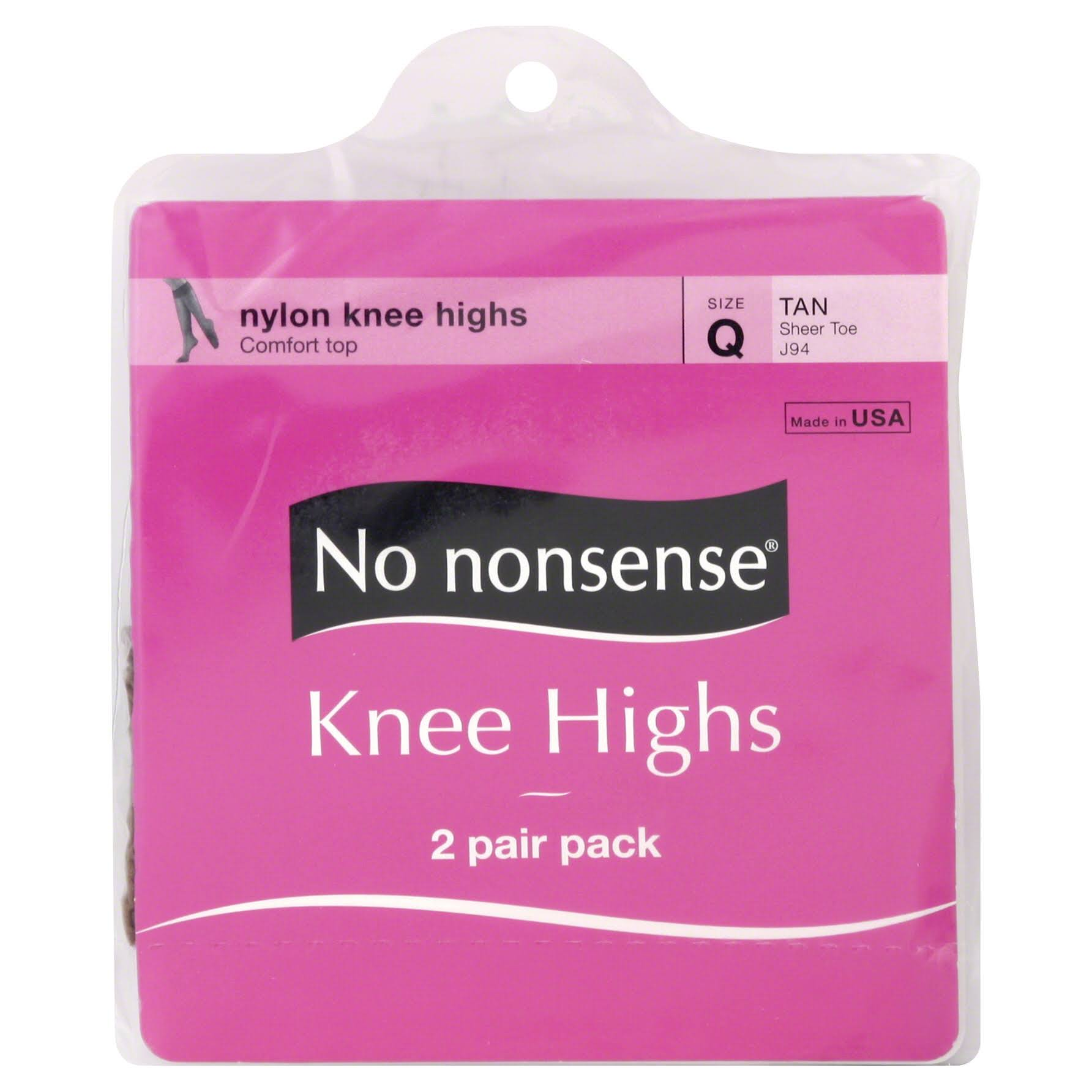 No Nonsense Knee Highs, Tan - 2 pair