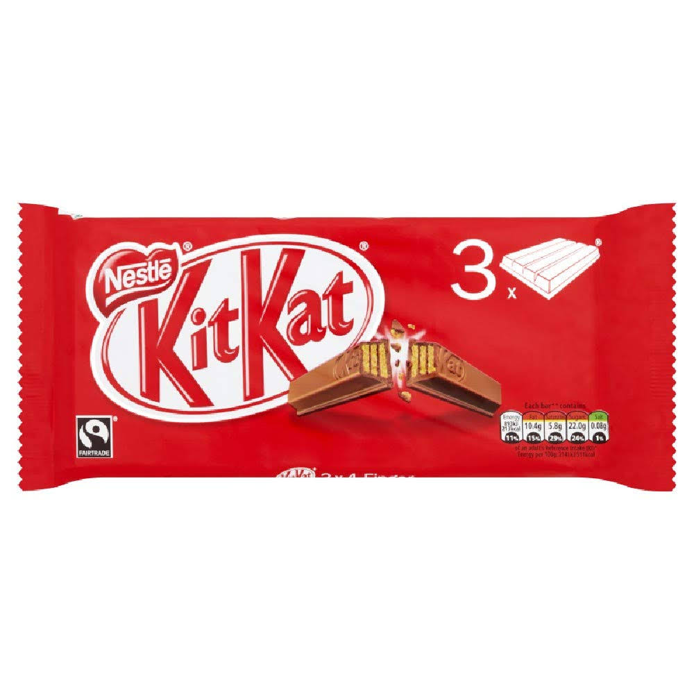 Kit Kat 4 Finger Milk Chocolate Bar - 41.5g, 3ct
