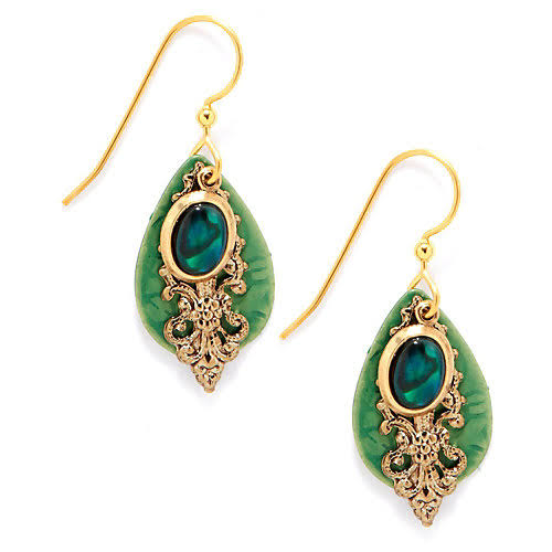 Silver Forest Green Abalone Layered Drop Earrings