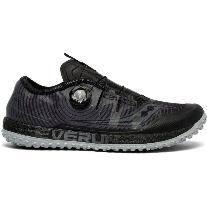 Saucony Men's Iso Switchback Trail Running Shoes - Black & Grey, Size 10 US
