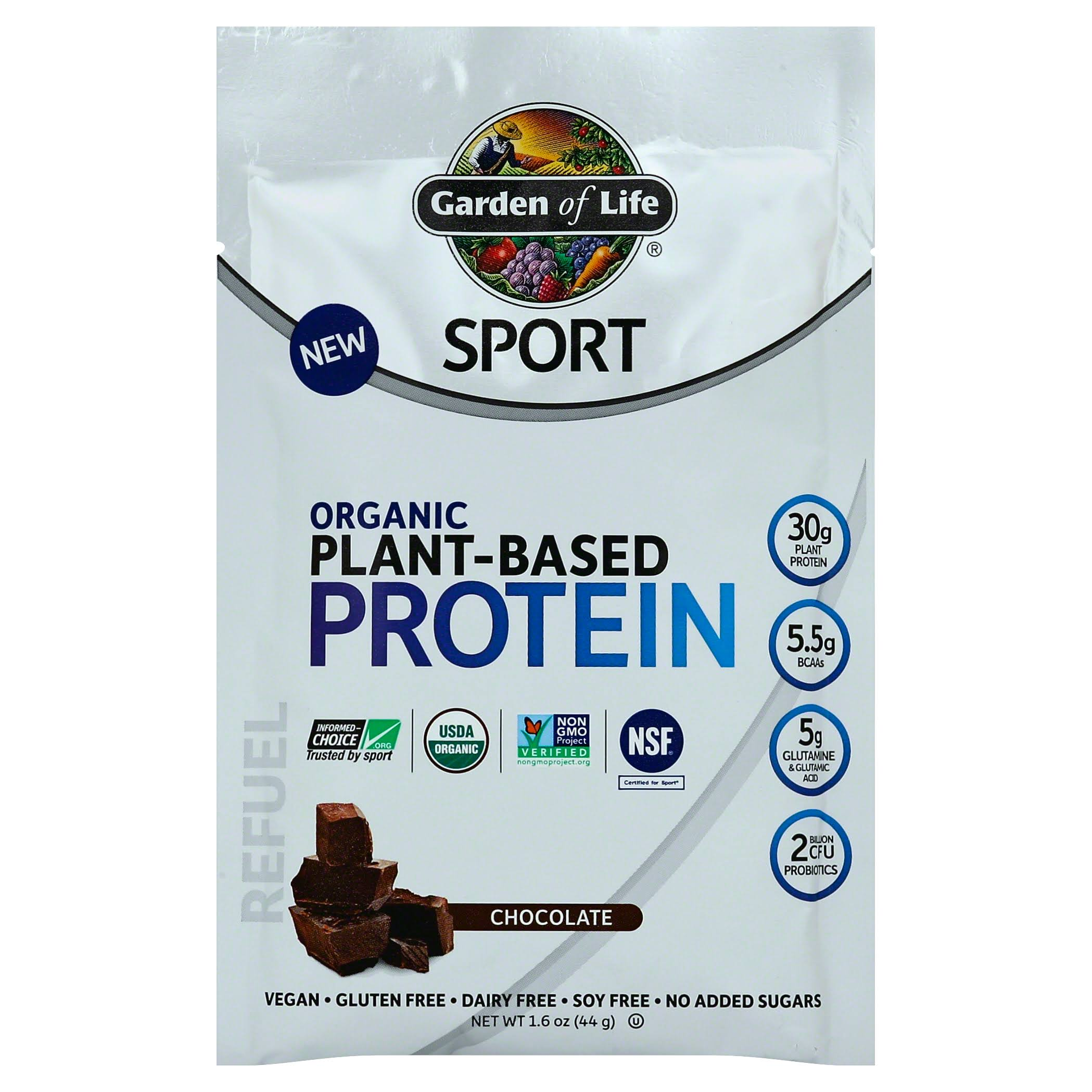 Garden of Life Sport Plant-Based Organic Protein, Chocolate - 1.6 oz packet