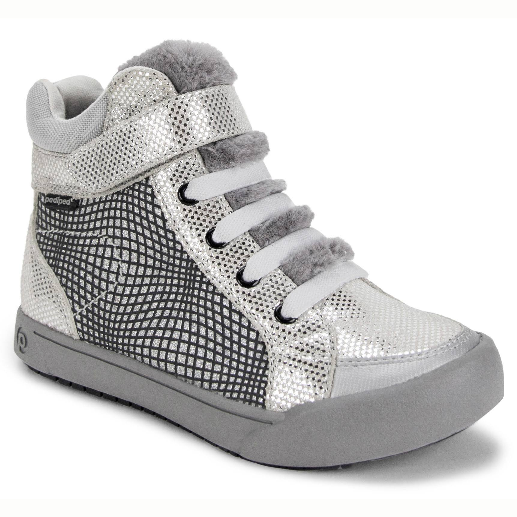 pediped Flex Logan High Top (Little Kid/Big Kid) Silver / 35